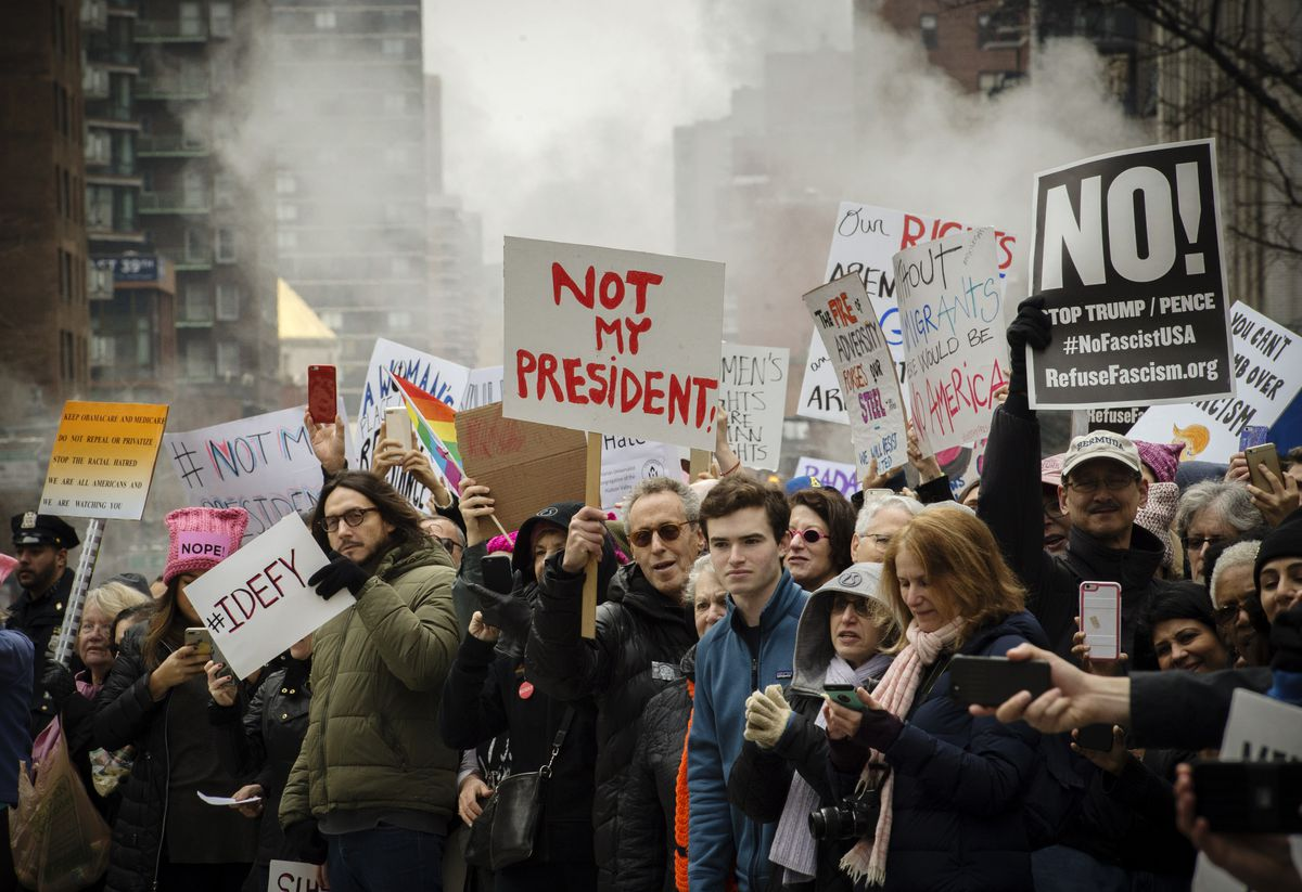 Protesters march in New York during the Women's March on January 21, 2017.