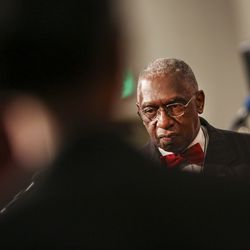 Rev. France Davis approaches the lectern before delivering his sermon at Calvary Baptist Church in Salt Lake City on Sunday, Dec. 22, 2019. Rev. Davis is planning to retire at the end of the year after having been pastor of the church since 1974.