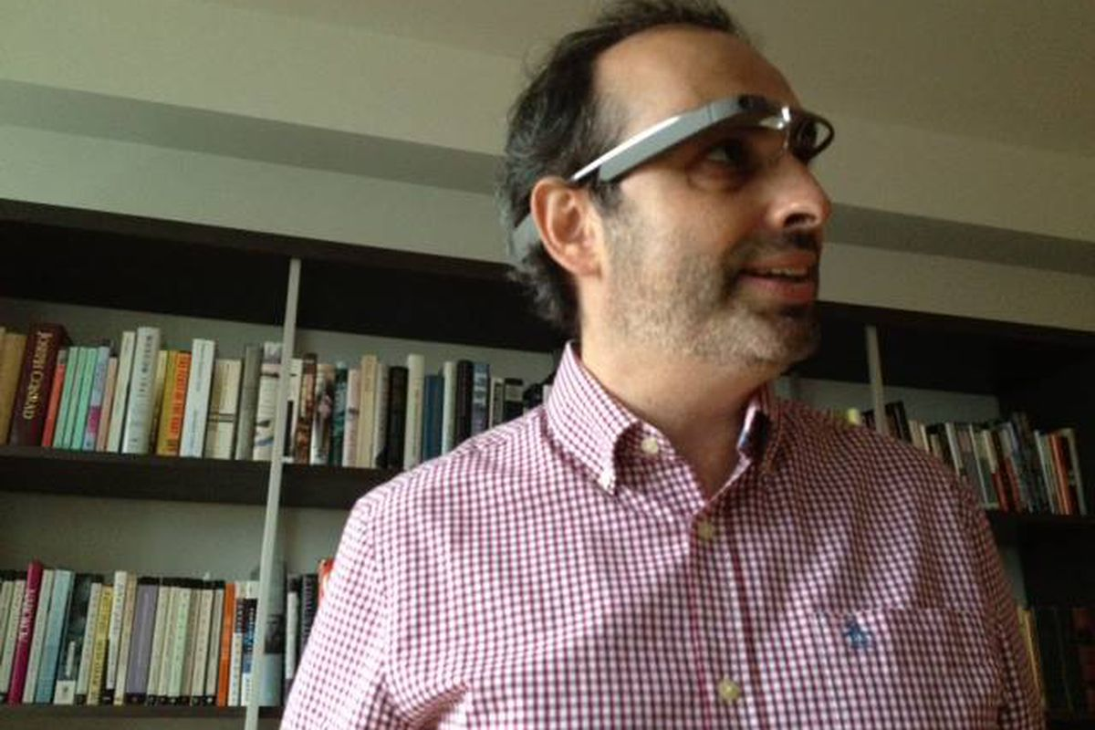 Gary Shteyngart wearing his Google Glass in slate. Image via Facebook.