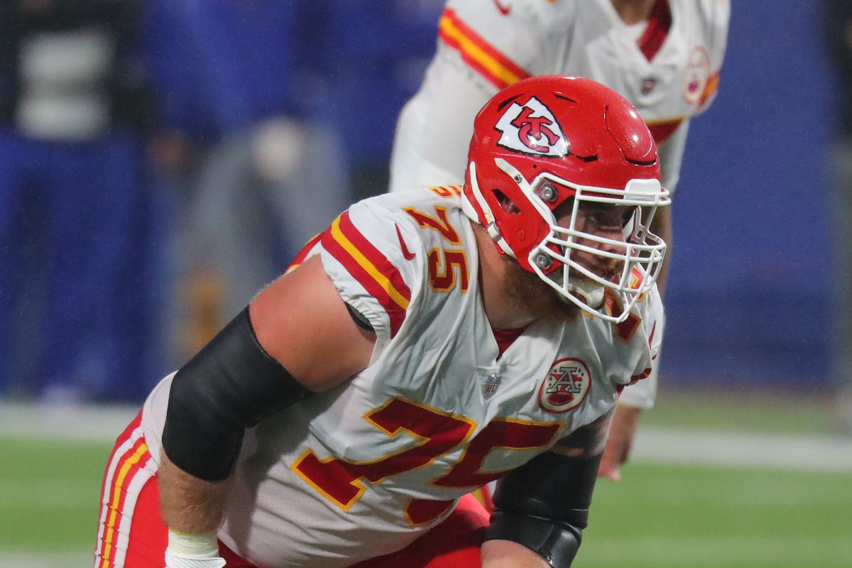 Mike Remmers #75 of the Kansas City Chiefs against the Buffalo Bills at Bills Stadium on October 19, 2020 in Orchard Park, New York.
