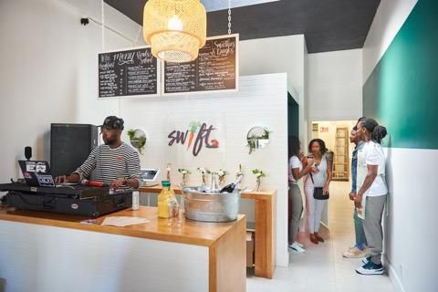 Customers at Swift Cafe in Leimert Park