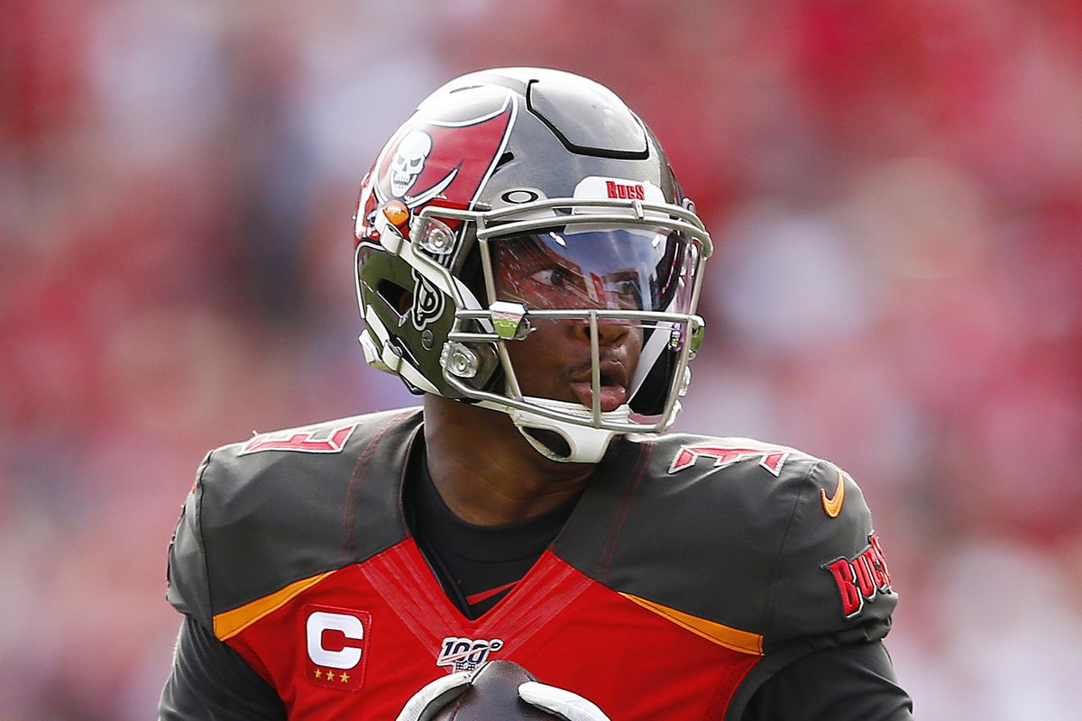 Jameis Winston of the Tampa Bay Buccaneers runs into the endzone to convert a two-point conversion against the Atlanta Falcons during the first half at Raymond James Stadium on December 29, 2019 in Tampa, Florida.