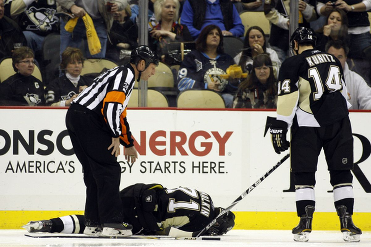 Malkin's sinus infection flared up last night and he was forced to leave the game.