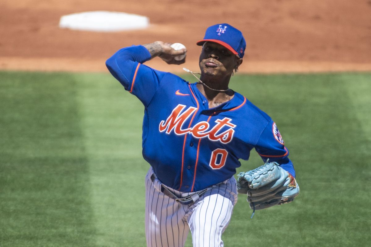New York Mets' pitcher Marcus Stroman throws in spring training game in Port St. Lucie, Florida