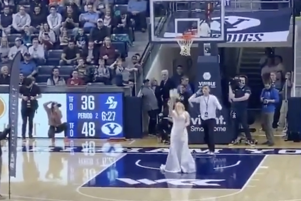 A halftime contest that involves brides throwing bouquets into hoops? That's so BYU