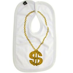 """This bib is the key to channeling her daddy. $18.49, <a href=""""http://www.perpetualkid.com/gold-chain-baby-bling-bib.aspx"""">Perpetual Kid</a>"""