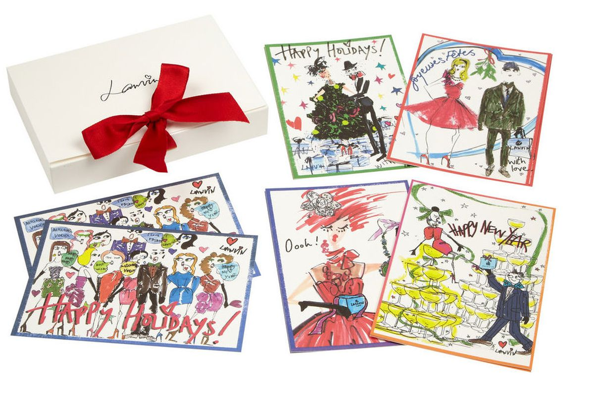 """Lanvin <a href=""""http://www.net-a-porter.com/product/401986"""">holiday notecards</a>"""