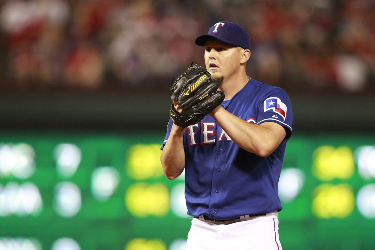 Apr 8, 2012; Arlington, TX, USA; Texas Rangers starting pitcher Matt Harrison (54) gets ready to pitch during the 5th inning against the Chicago White Sox at Rangers Ballpark. Mandatory Credit: Tim Heitman-US PRESSWIRE