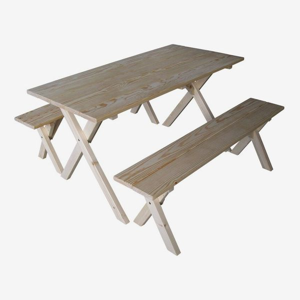 Wooden picnic table with moveable benches