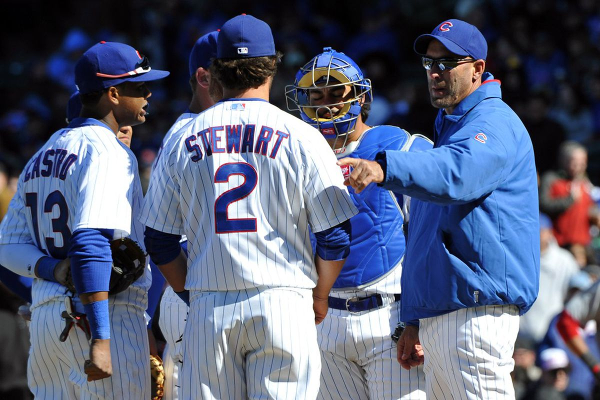 Chicago, IL, USA; Chicago Cubs manager Dale Sveum makes a pitching change during the eighth inning against the Washington Nationals on opening day at Wrigley Field.  Mandatory Credit: Rob Grabowski-US PRESSWIRE
