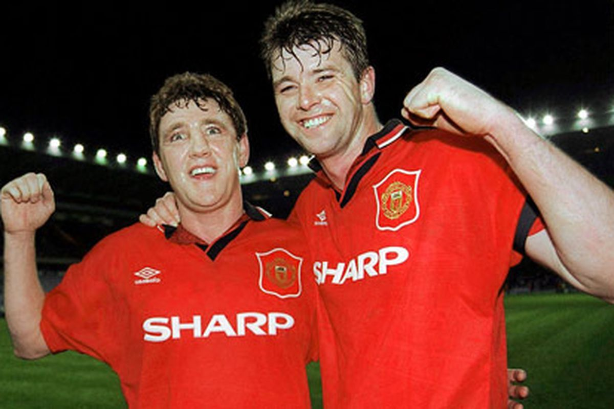 Pallister and Bruce back in the day. These two were the rock that United's first trophy laden spell under Fergie were built on. via thisislondon.co.uk
