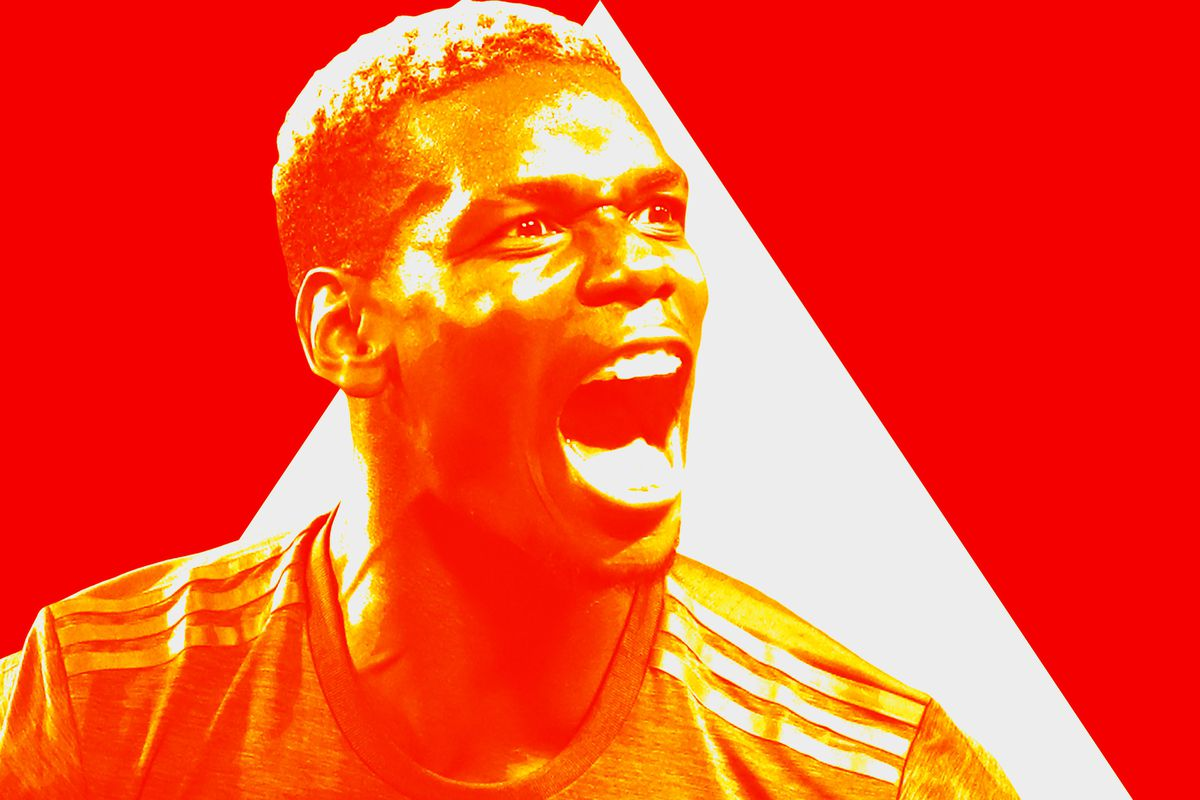 Manchester United's Paul Pogba with his mouth open