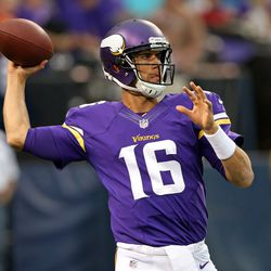 Aug 9, 2013; Minneapolis, MN, USA; Minnesota Vikings quarterback Matt Cassel (16) throws a pass during pre game against the Houston Texans at the Metrodome.