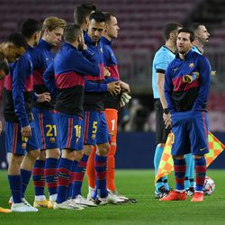 What is Messi doing?
