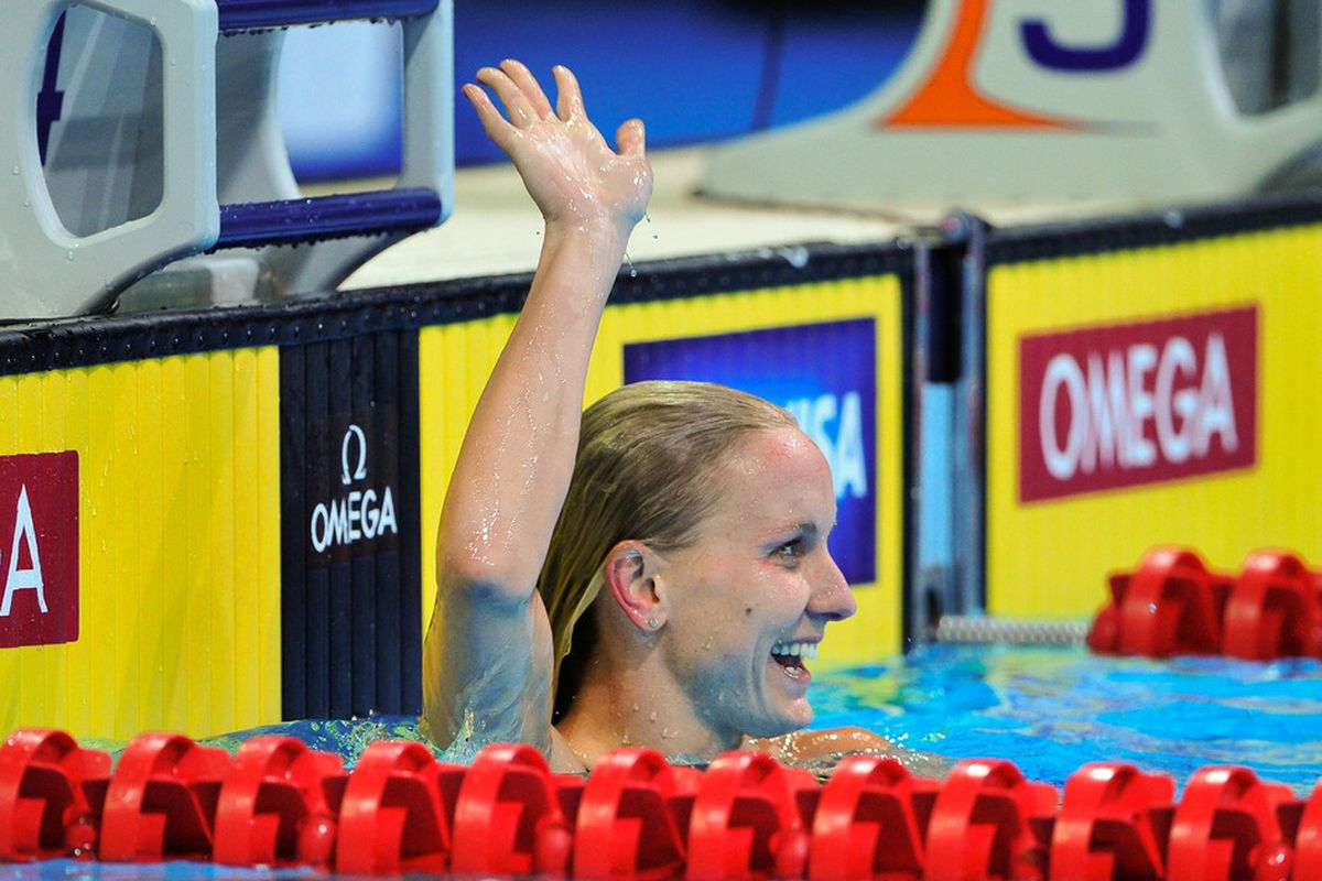 OMAHA, NE - JULY 2: Jessica Hardy waves after winning the 50m Freestyle during day eight of the 2012 U.S. Olympic Swimming Team Trials at the CenturyLink Center July 2, 2012 in Omaha, Nebraska. (Photo by Eric Francis/Getty Images)