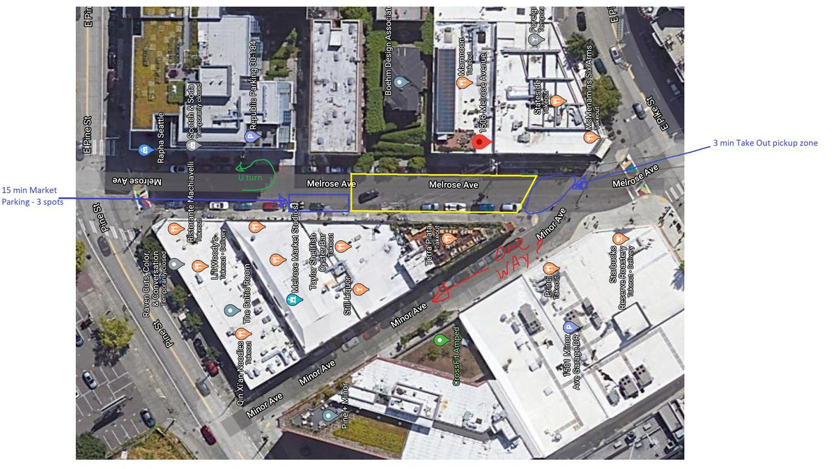 A bird's eye diagram of Melrose Ave that shows proposed street closures and entryways for an outdoor plaza