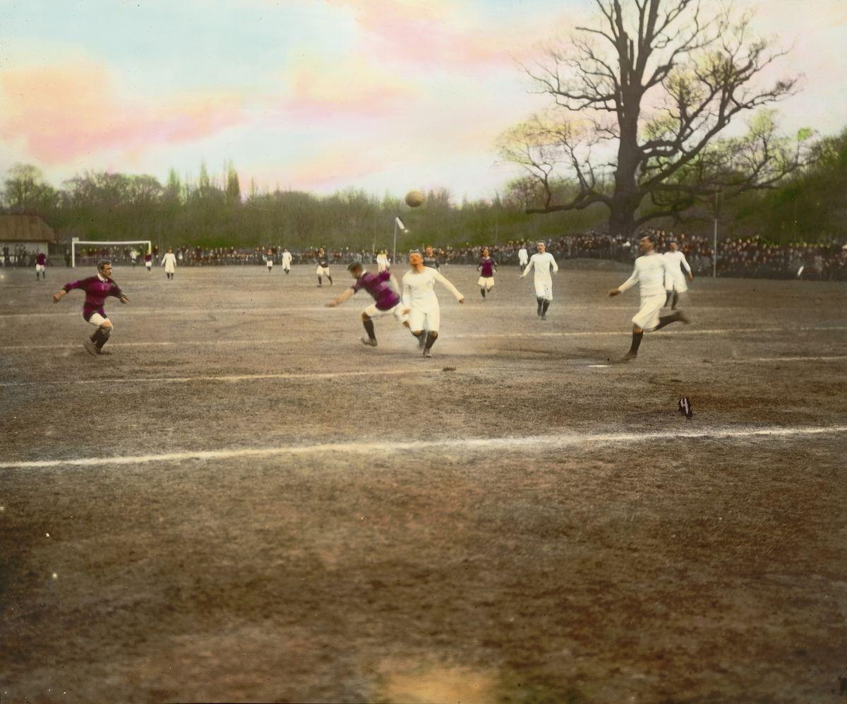 Football match. Prater. Vienna, second district. Hand-colored lantern slide. Around 1910.