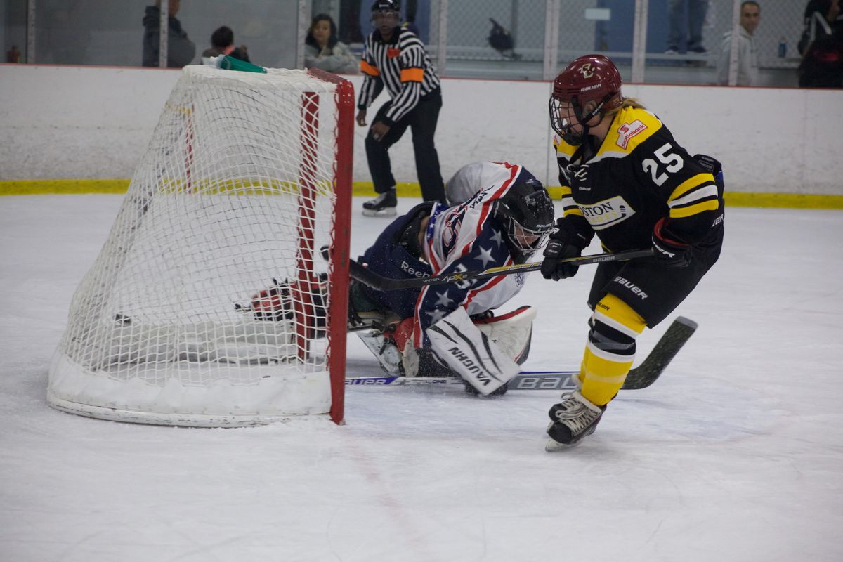 Blades rookie Kate Leary scores in the team's 9-4 victory.