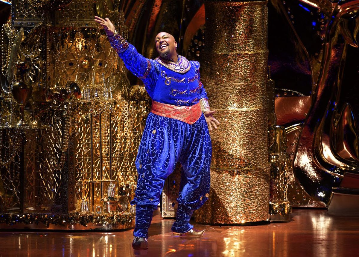 """Anthony Murphy stars as the Genie in the national touring production of """"Aladdin.""""   PHOTO BY DEEN VAN MEER"""