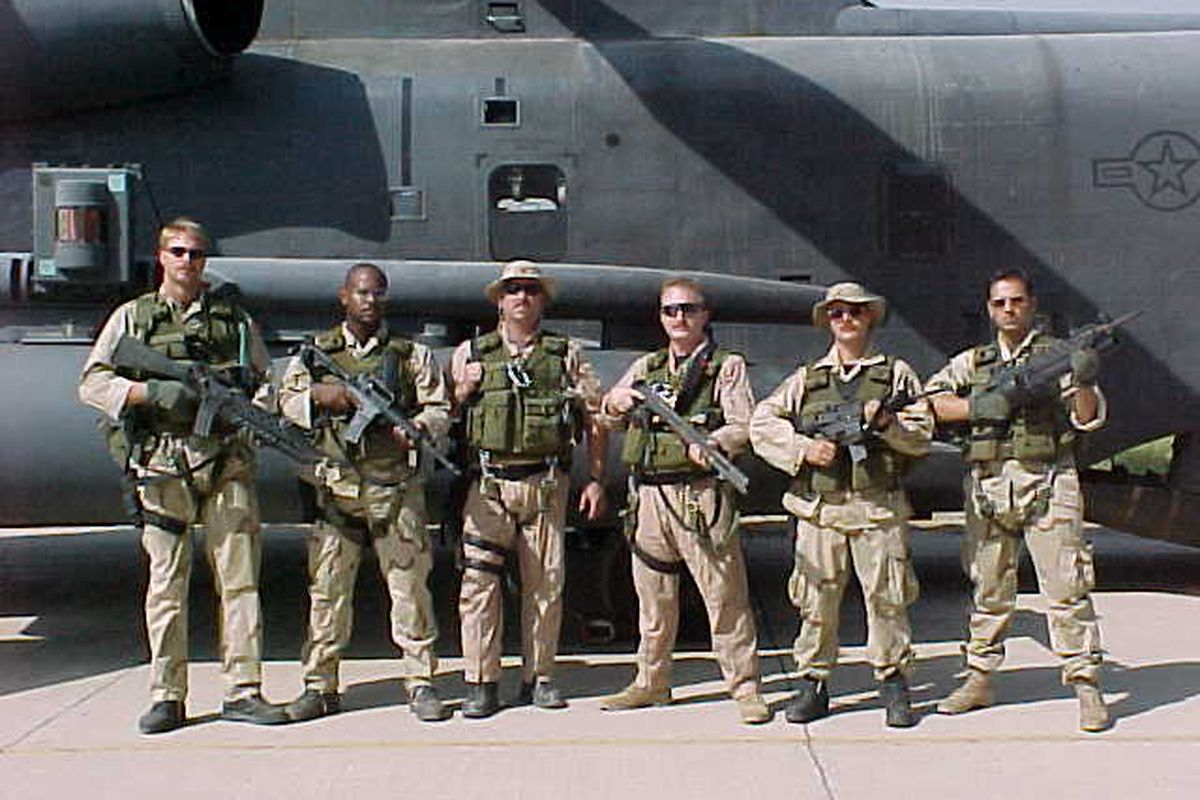 Lt Ted Glover, 3rd from right, Oct 2001.