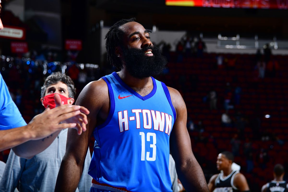 James Harden of the Houston Rockets looks on after a game against the Sacramento Kings on December 31, 2020 at the Toyota Center in Houston, Texas.