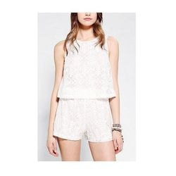 """<b>Motel Mary's</b> <a href=""""http://www.urbanoutfitters.com/urban/catalog/productdetail.jsp?id=27819069&parentid=SEARCH+RESULTS"""">Lace Romper</a> lends the illusion of perfectly matched separates with a retro vibe. Edge things up a little with black moto b"""