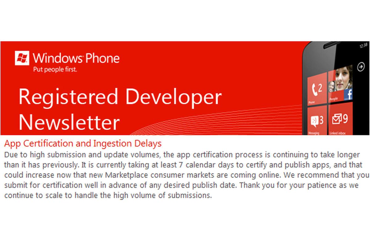 Windows Phone market delays