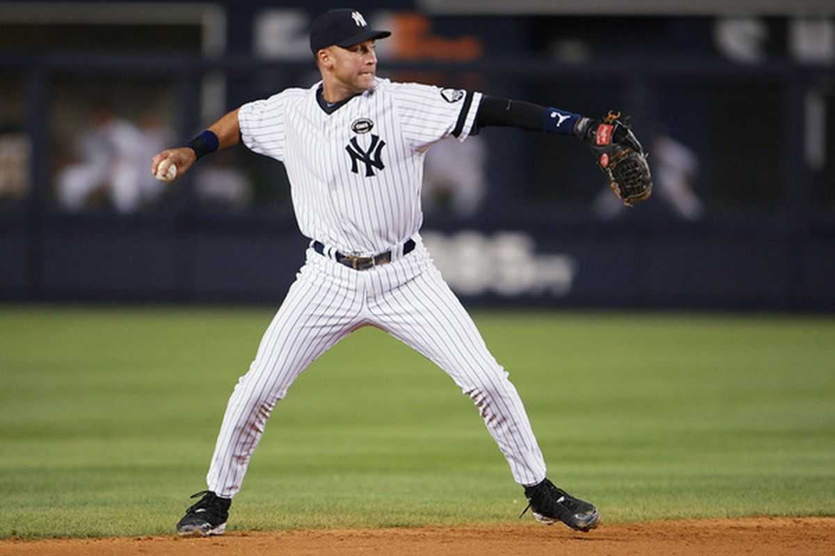 <strong>Derek Jeter's</strong> defense is always a source of debate.  (Photo by Andrew Burton/Getty Images)