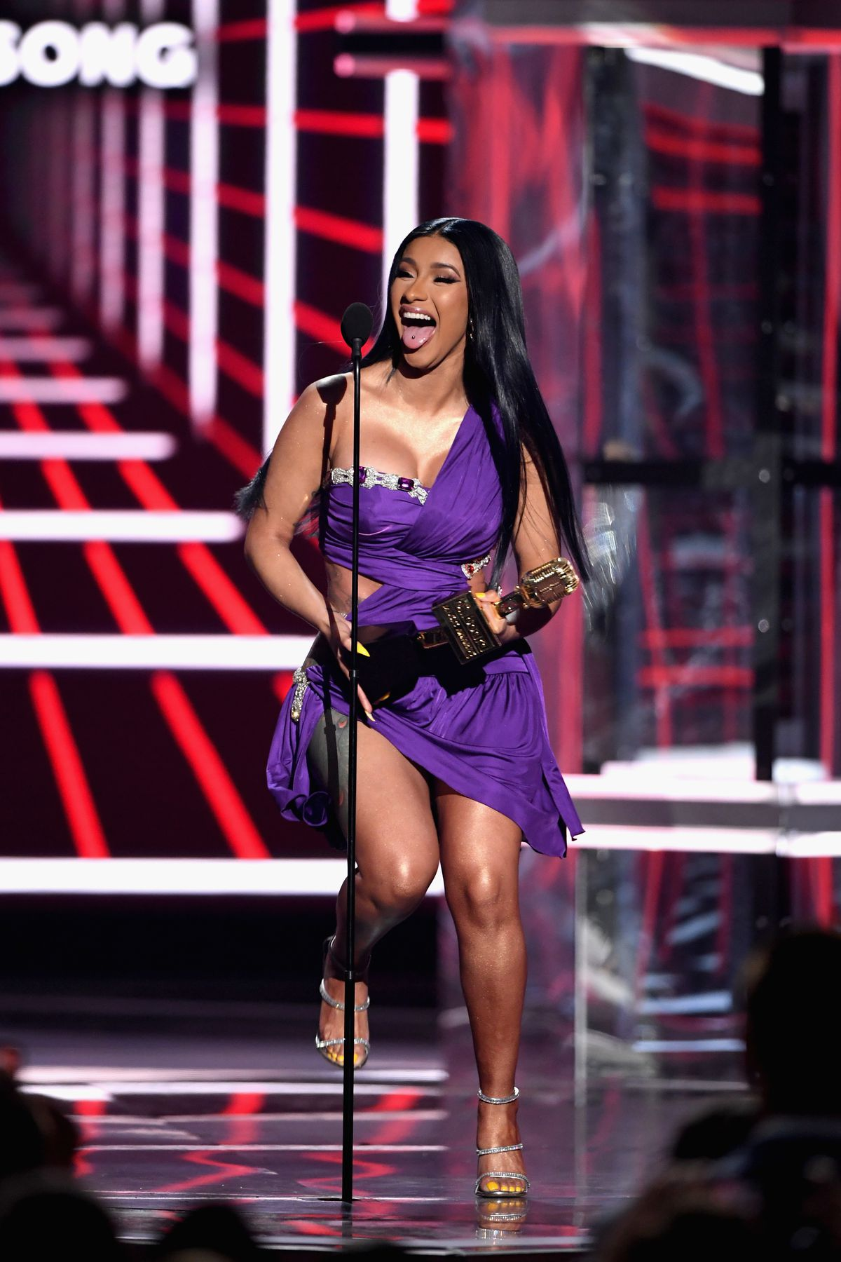 """Cardi B accepts Top Hot 100 Song for """"Girls Like You"""" (Maroon 5 featuring Cardi B) onstage during the 2019 Billboard Music Awards at MGM Grand Garden Arena on May 1, 2019 in Las Vegas, Nevada.   Ethan Miller/Getty Images"""