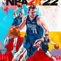 The $79.99 Cross-Gen Digital Bundle of <em>NBA 2K22</em> features a painting of Dončić by Charly Palmer.