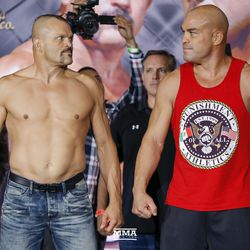 Chuck Liddell and Tito Ortiz stare each other down at the Liddell vs. Ortiz 3 ceremonial weigh-ins in Inglewood, Calif.