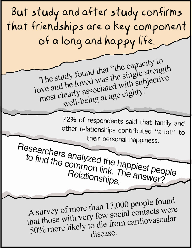 But study and after study confirms that friendships are a key component of a long and happy life.