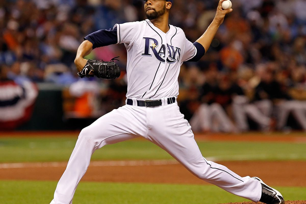 ST PETERSBURG, FL - APRIL 01:  Pitcher David Price #14 of the Tampa Bay Rays pitches against the Baltimore Orioles during the Opening Day game at Tropicana Field on April 1, 2011 in St. Petersburg, Florida.  (Photo by J. Meric/Getty Images)