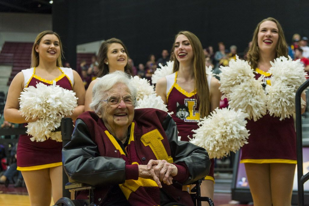 Sister Jean Dolores Schmidt, Loyola Ramblers Chaplain watches the crowd as players of the Mens Basketball give speeches during the Ramblers rally inside the Gentile Arena, on Sunday, March 25, 2018, in Chicago. | Tyler LaRiviere/Sun-Times