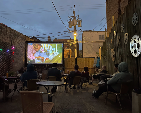 Music Box Theatre's Garden Movies features films screened in the theatre's expanded courtyard under the stars.