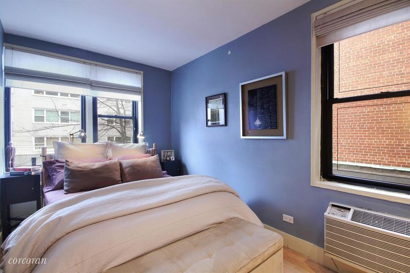 A Bedroom. The apartment itself is rather long and narrow  though it s a one bedroom or you know also has some ancillary spaces an office This West Village co op glass box for Curbed NY