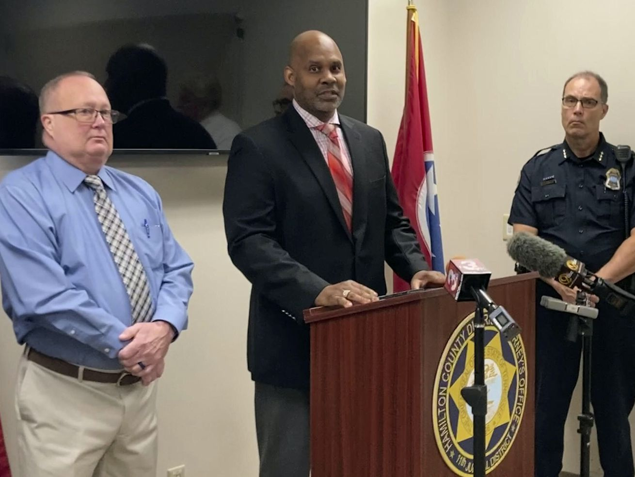 Saadiq Pettyjohn, center, son of Samuel Pettyjohn, speaks at a news conference, Wednesday, June 9, 2021, in Chattanooga, Tenn. Law enforcement officials announced the closing a 42-year-old cold case of Samuel Pettyjohn, a Chattanooga businessman who was shot and killed in 1979 in a contract killing that former Gov. Ray Blanton's administration helped pay for.