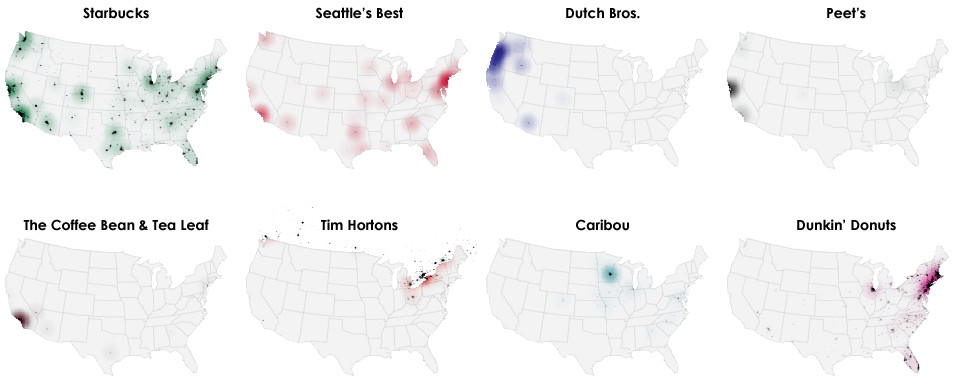 Coffee chains in America, in one map - Vox on carls jr map, dairy queen map, chili's map, taco bell map, golden corral map, pizza hut map, little caesars map, costco map, tim hortons map, kfc map, burger king map, five guys map, church's chicken map, mcdonald's map, in and out locations map, panera bread map, krispy kreme map, chuck e cheese's map, denny's map, arby's map,