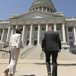 State Sen. Deidre Henderson, R-Spanish Fork and GOP nominee for lieutenant governor, left, and running mate Lt. Gov. Spencer Cox, head up the steps of the Capitol following a press conference on Tuesday, July 7, 2020. On Monday, Cox and Henderson, his running mate, were declared the winners in the GOP gubernatorial primary.