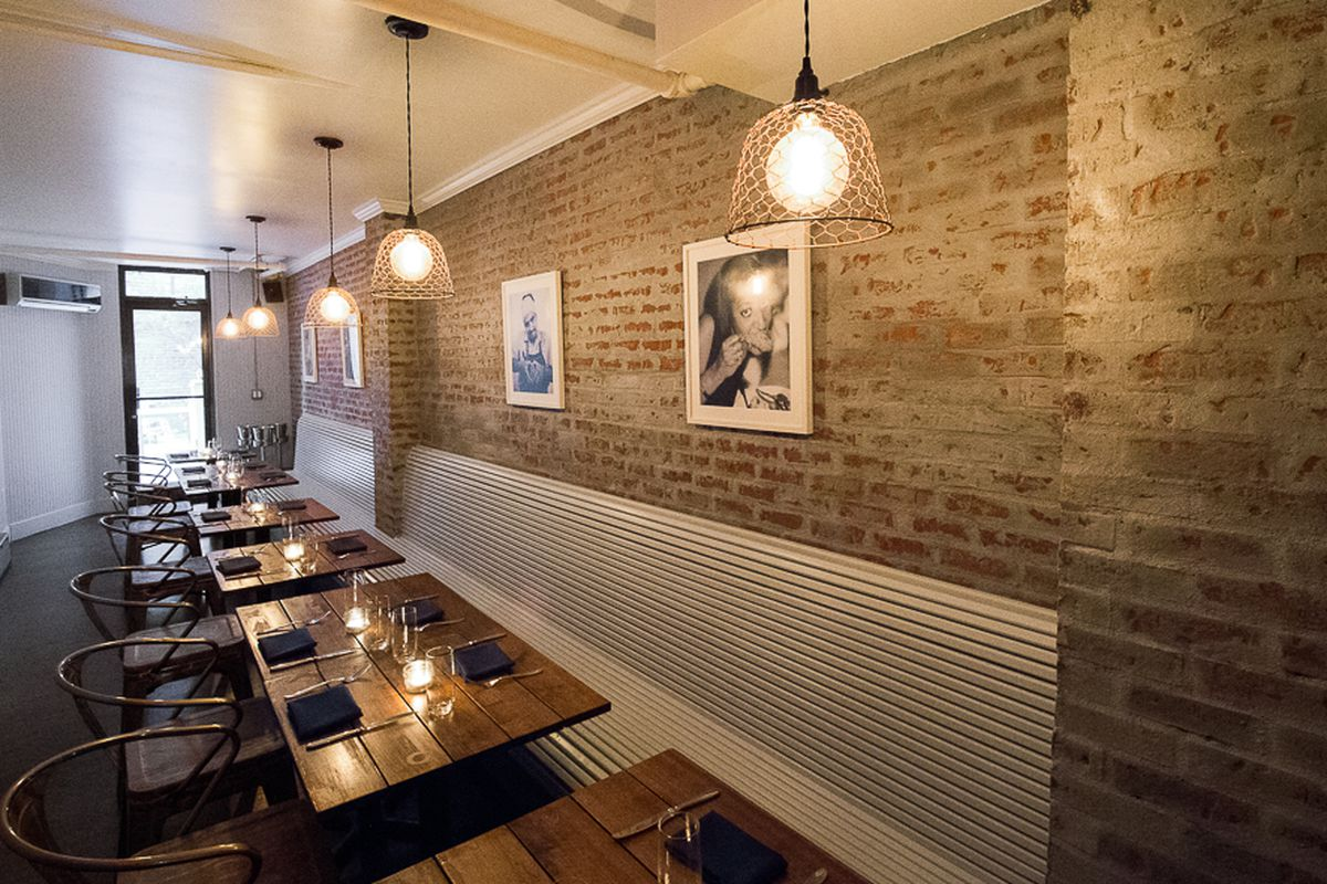 [The dining room at Birds & Bubbles on the Lower East Side]