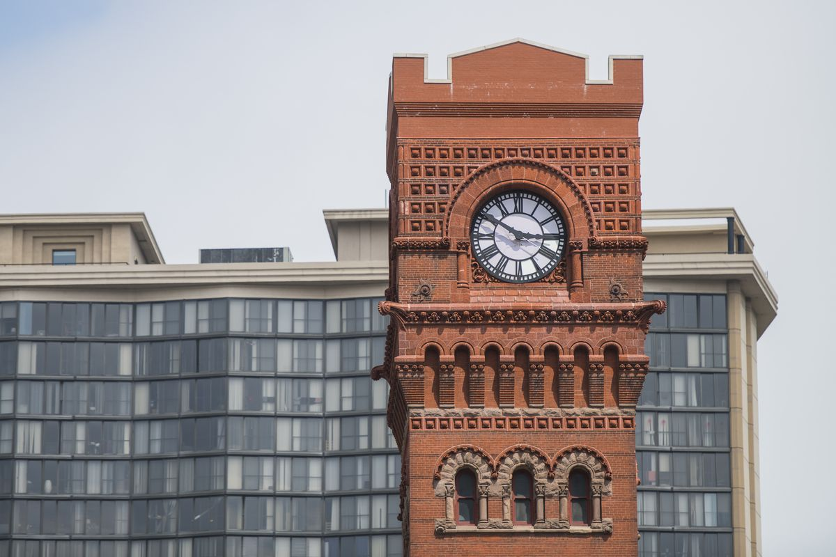The Dearborn Station clock tower along Printers Row downtown.