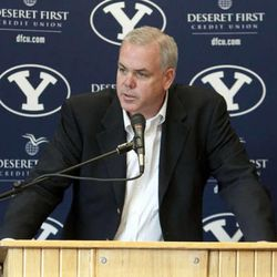 BYU Head Basketball Coach Dave Rose speaks at a press conference announcing his new contract Wednesday, April 6, 2011.