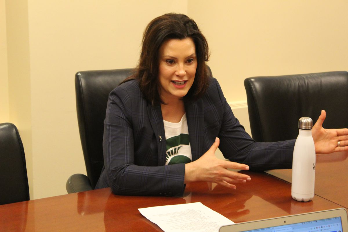 Gov. Gretchen Whitmer talks with Chalkbeat reporters.