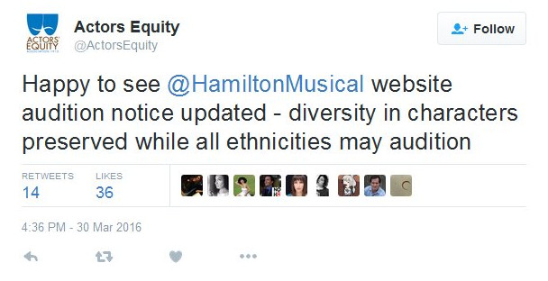 """A deleted Actor's Equity tweet praising the preservation of diversity in characters while allowing that """"all ethnicities may audition."""""""