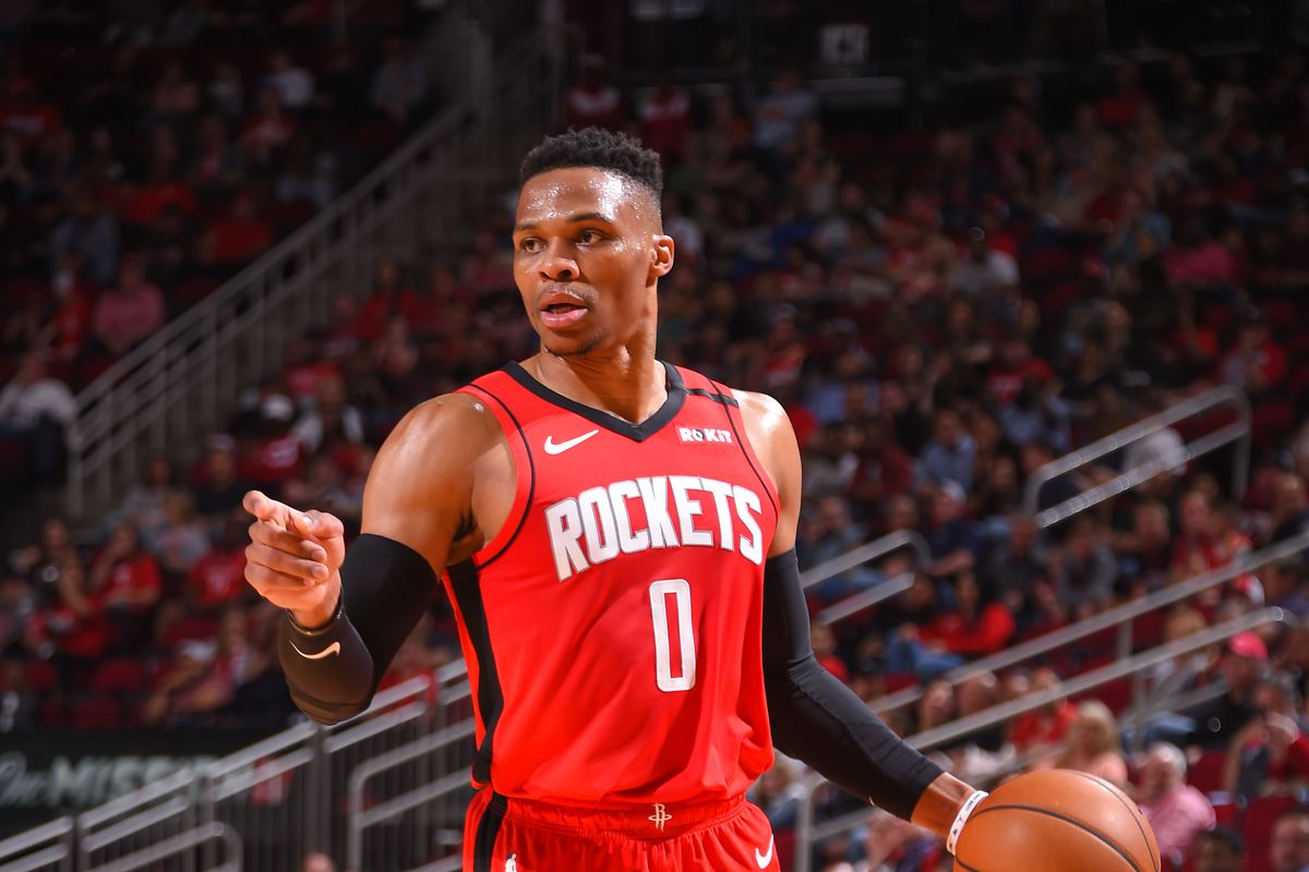 Russell Westbrook of the Houston Rockets handles the ball against the Minnesota Timberwolves on March 10, 2020 at the Toyota Center in Houston, Texas.