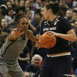 Notre Dame's Jessica Shepard (23) gets ready to try and dribble past UConn's Azura Stevens (23) during the Notre Dame Fighting Irish vs UConn Huskies women's college basketball game in the Women's Jimmy V Classic at the XL Center in Hartford, CT on December 3, 2017.