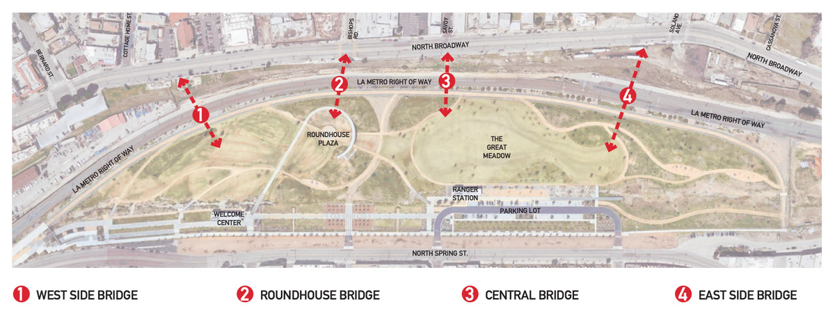 An aerial view of the park with four red arrows showing possible locations of the bridge.