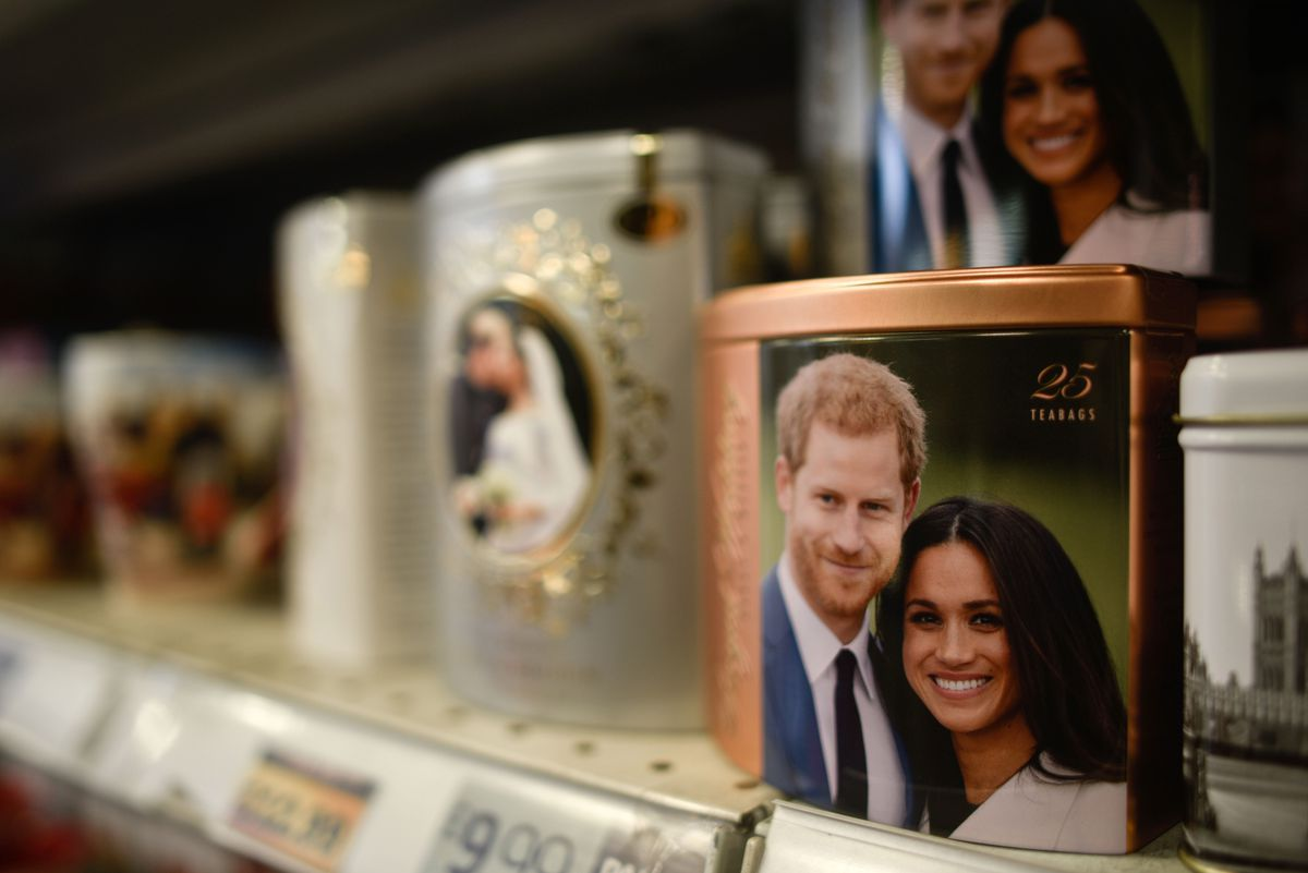 Merchandise featuring Prince Harry, Duke of Sussex and Meghan, Duchess of Sussex is seen on sale in January in London, England.