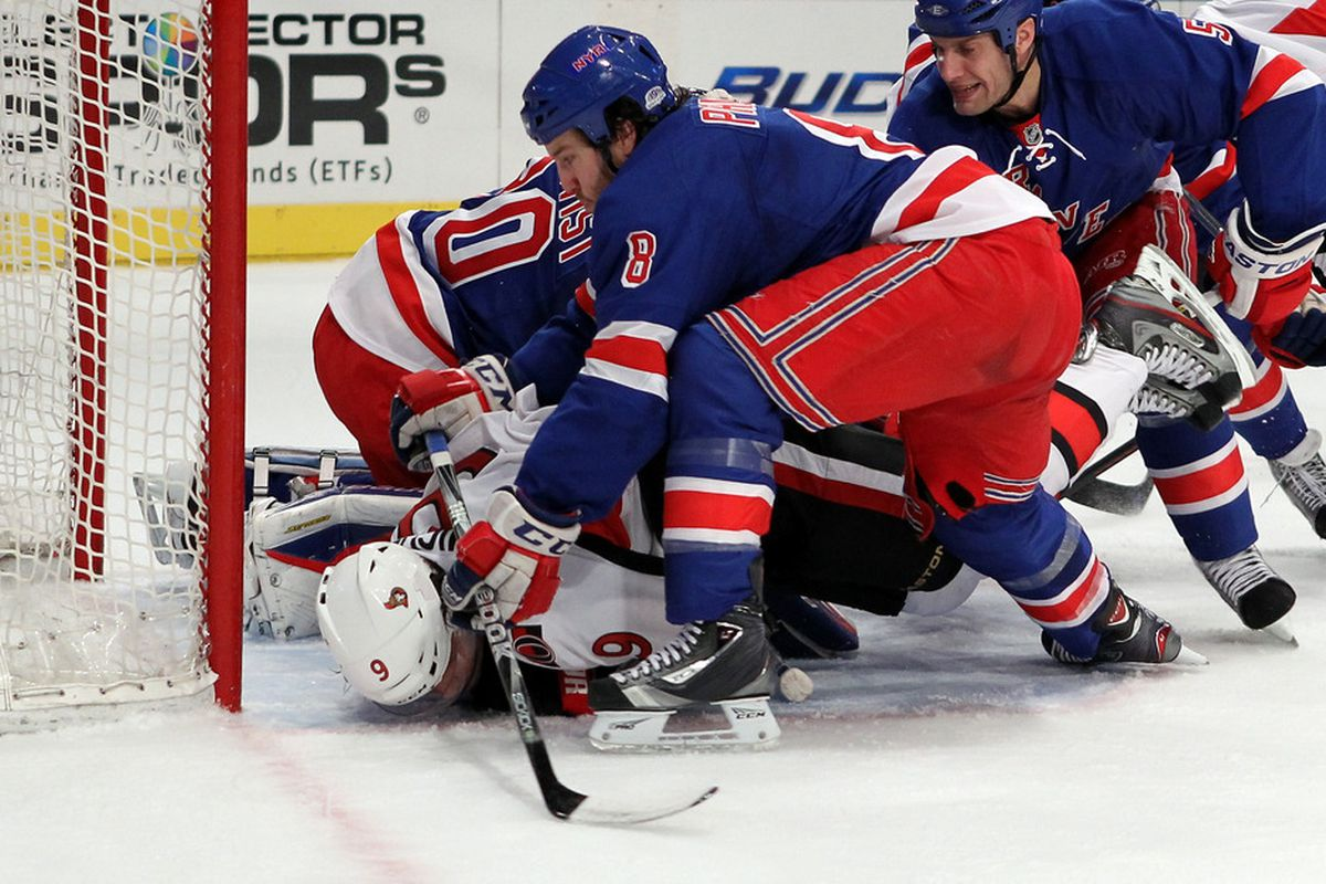 Yeah... playoff hockey is pretty intense. (Photo by Bruce Bennett/Getty Images)