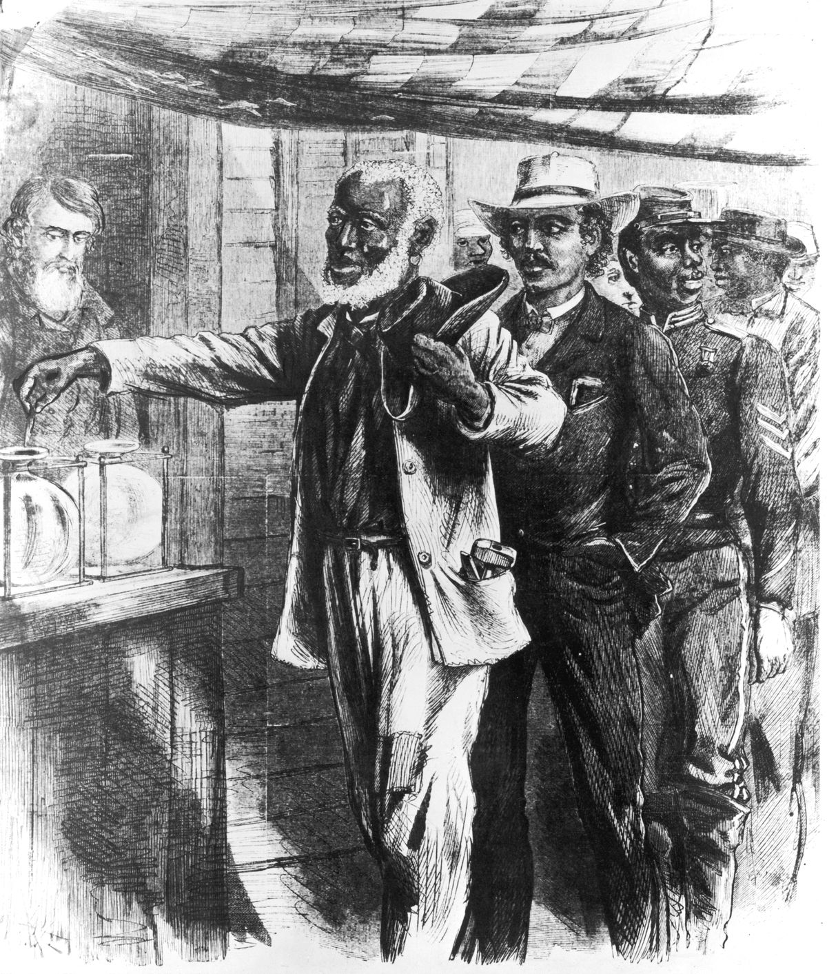 An 1867 illustration from Harper's shows black men exercising their right to vote in the South (with a suspicious-looking election official in the background).